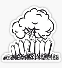 Garden flowers fence shovel tree Sticker