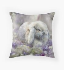 Bunny In The Easter Lilacs Throw Pillow