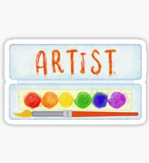 Artist Paint Palette and Brush Watercolor Sticker