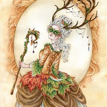Forest Finery - Rococo Deer or Faun girl  by meredithdillman