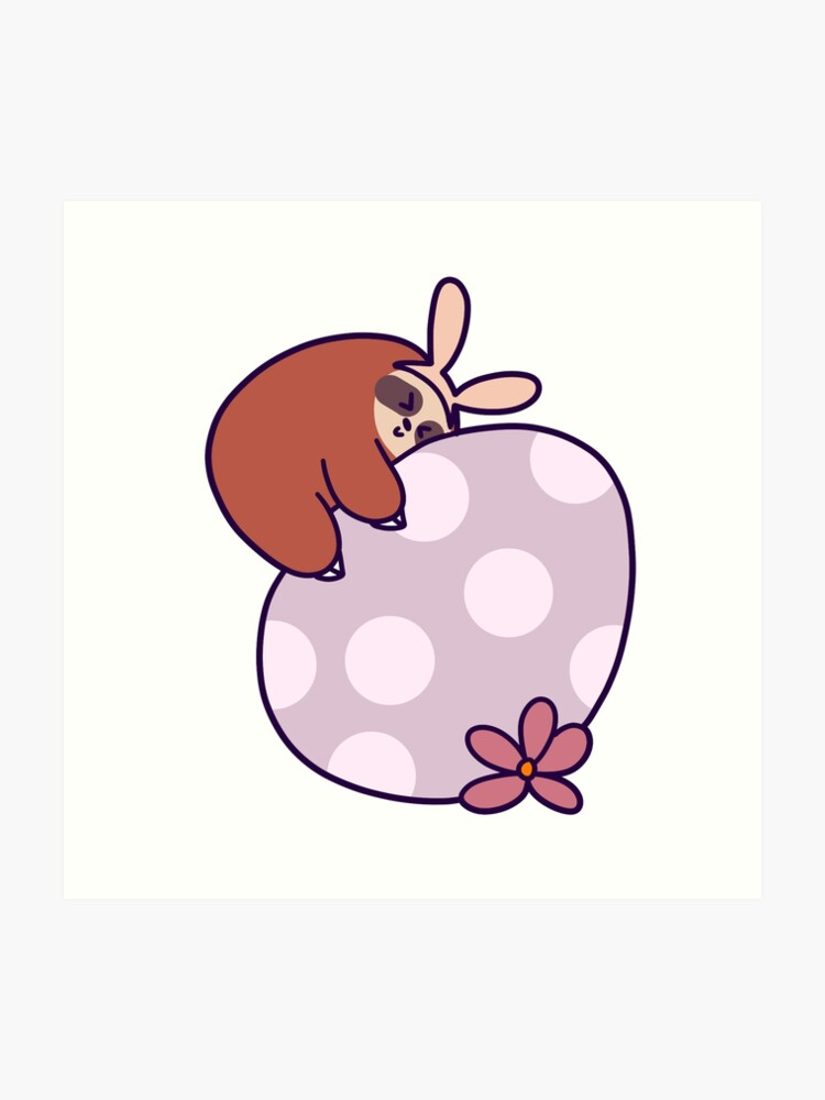Sloth Hugging Giant Easter Egg | Art Print
