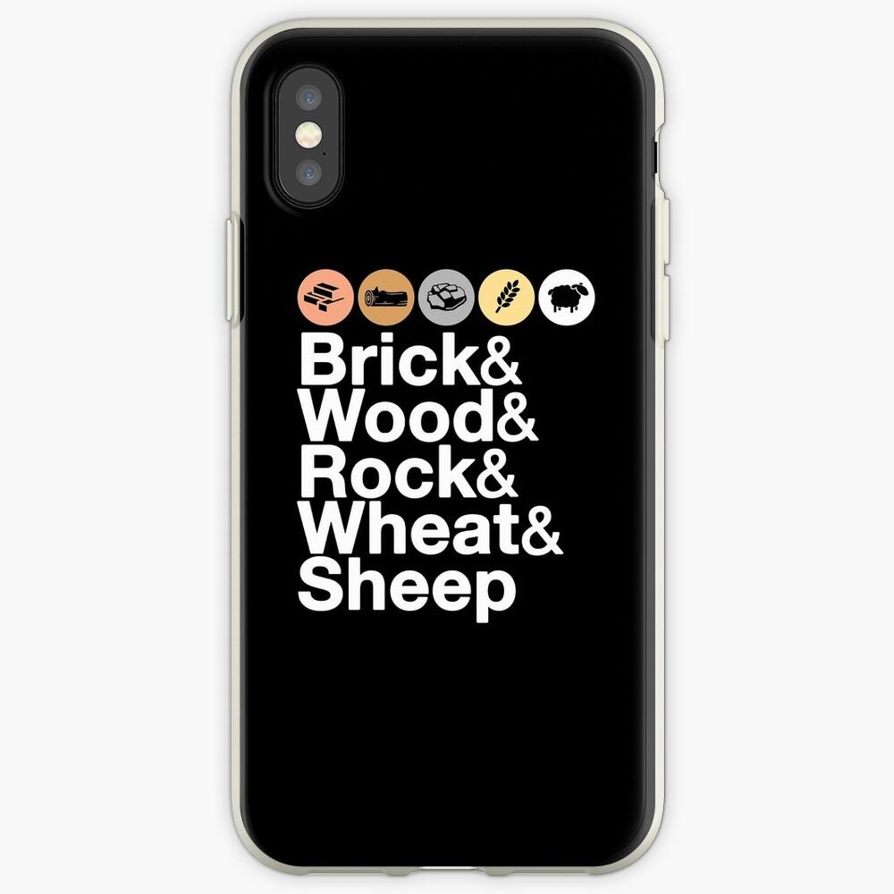 Helvetica Settlers of Catan: Brick, Wood, Rock, Wheat, Sheep | Board Game Geek Ampersand Design iPhone Case & Cover