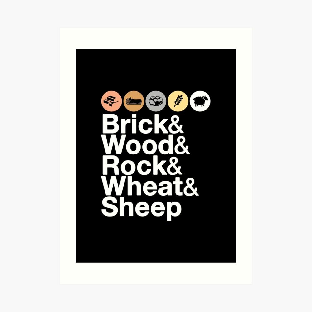 Helvetica Settlers of Catan: Brick, Wood, Rock, Wheat, Sheep | Board Game Geek Ampersand Design Art Print