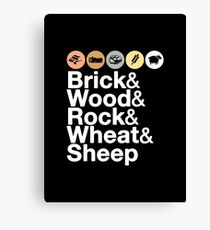 Helvetica Settlers of Catan: Brick, Wood, Rock, Wheat, Sheep | Board Game Geek Ampersand Design Canvas Print