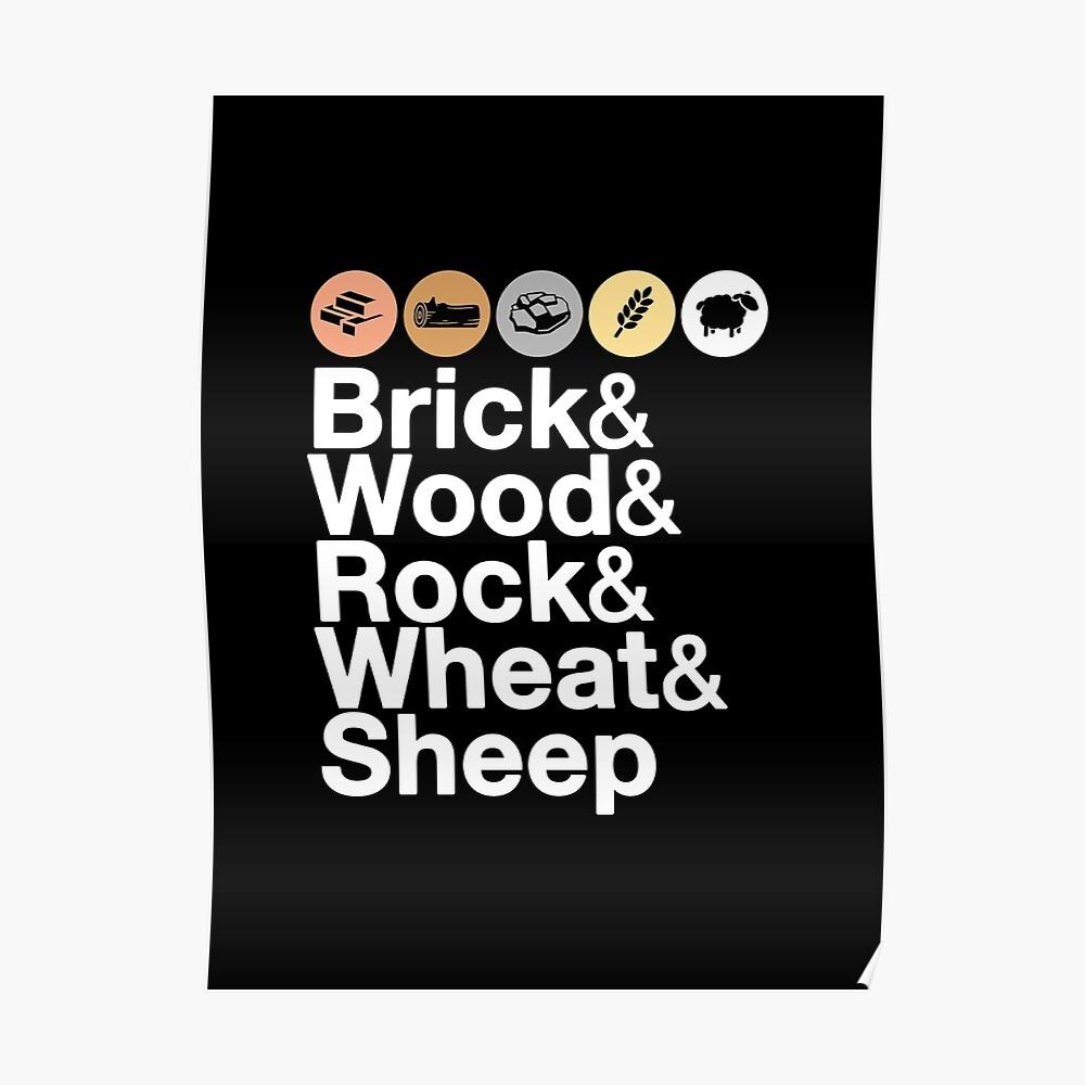 Helvetica Settlers of Catan: Brick, Wood, Rock, Wheat, Sheep | Board Game Geek Ampersand Design Poster