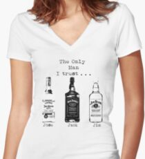 the only man i trust Women's Fitted V-Neck T-Shirt