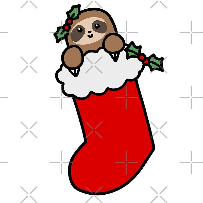 Christmas Stockings Cartoon.Christmas Stocking Sloth Art Print