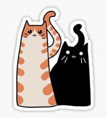 Pegatina Tabby Cat y gato negro