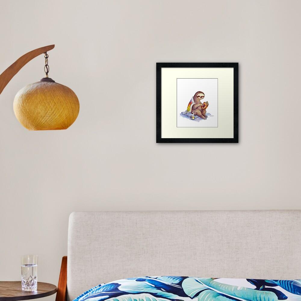 Cozy Sloth Framed Art Print