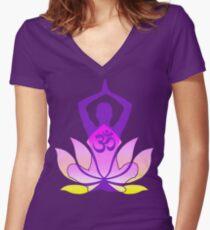 OM Namaste Yoga Pose Lotus Flower Women's Fitted V-Neck T-Shirt