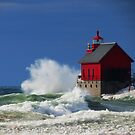 Grand Haven Lighthouse Waves by stormypleasures