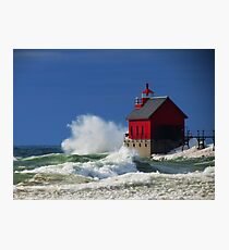 Grand Haven Lighthouse Waves Photographic Print
