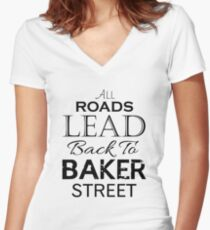 All Roads Lead Back To Baker Street Women's Fitted V-Neck T-Shirt