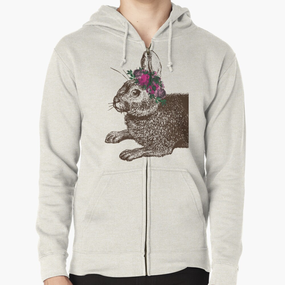 The Rabbit and Roses | Rabbit and Flowers | Vintage Rabbits | Bunny Rabbits | Bunnies | Hares |  Zipped Hoodie