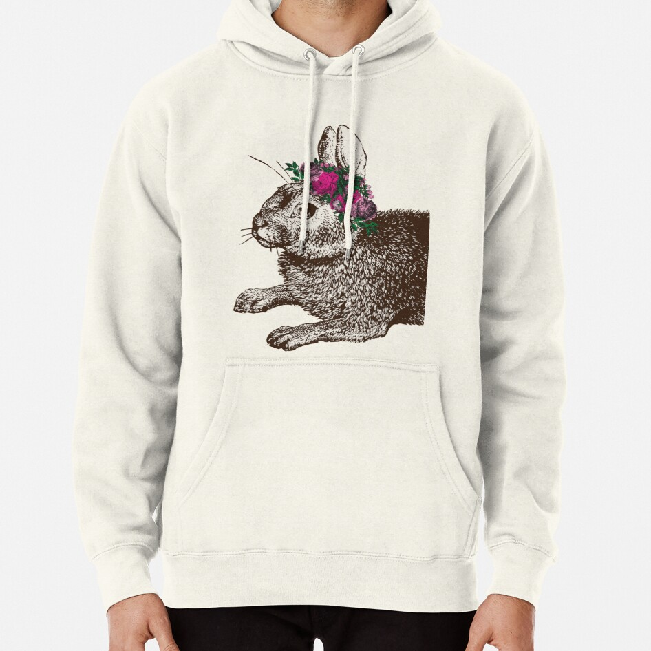 The Rabbit and Roses | Rabbit and Flowers | Vintage Rabbits | Bunny Rabbits | Bunnies | Hares |  Pullover Hoodie