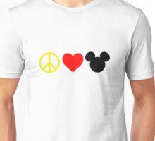 Peace, Love, Mickey Unisex T-Shirt