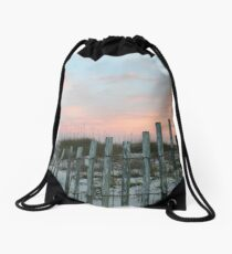 Sea Oates and Sand Drawstring Bag