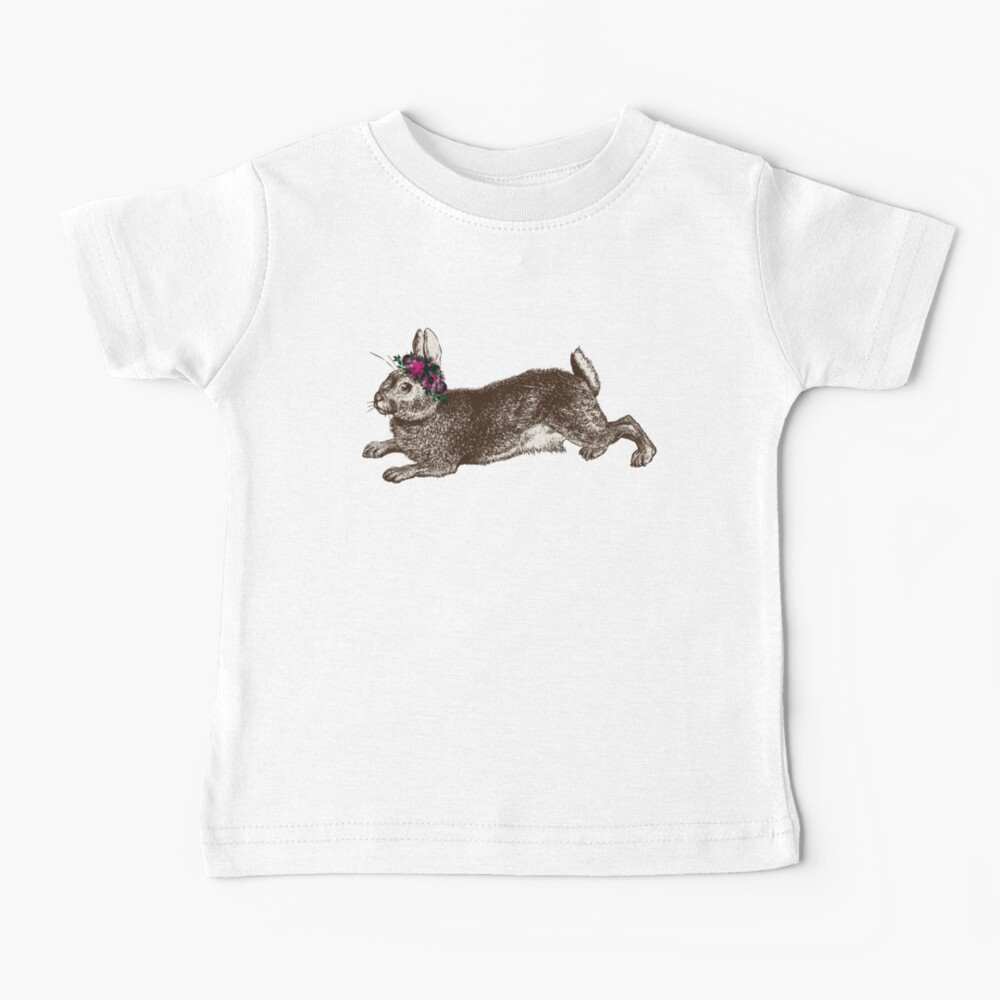 The Rabbit and Roses   Rabbit and Flowers   Vintage Rabbits   Bunny Rabbits   Bunnies   Hares    Baby T-Shirt
