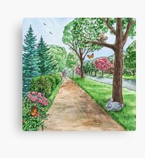 Landscape With Rabbit Squirrel and Butterflies Canvas Print