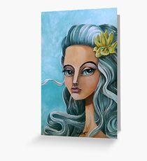 Biella Painting Art portrait blue hair sianelliot Greeting Card