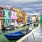 Burano in the rain by Tarrby