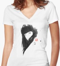 chinese  girl Women's Fitted V-Neck T-Shirt