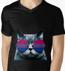 Bisexual Cat with Sunglasses Men's V-Neck T-Shirt