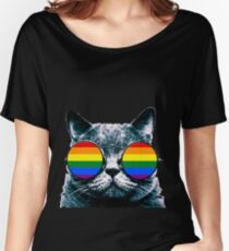 Gay Cat with Sunglasses Women's Relaxed Fit T-Shirt