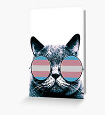 Transgender Cat with Sunglasses Greeting Card