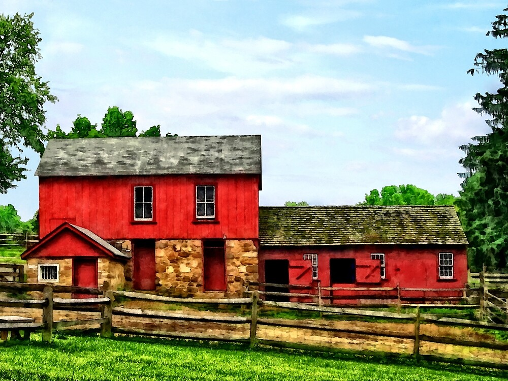 Red Barn with Fence by Susan Savad