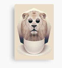 Caffeinimals: Lion Canvas Print