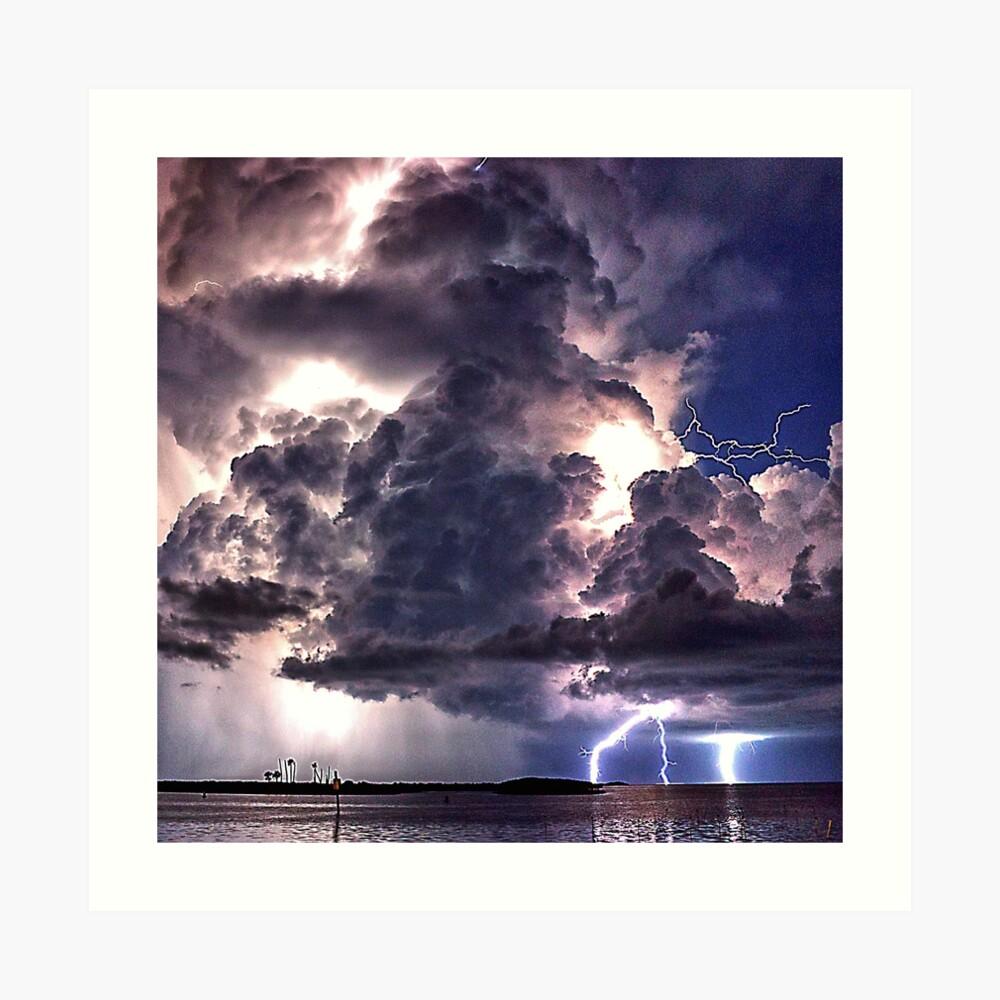 Lightning in HDR Art Print