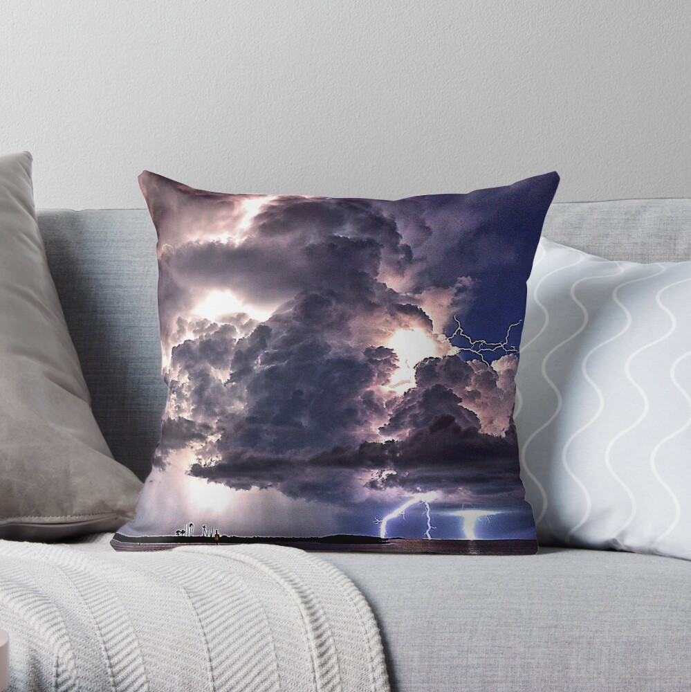 Lightning in HDR Throw Pillow