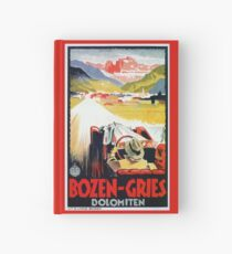 Vintage Italian travel, classic convertible car, Bozen-Gries Hardcover Journal