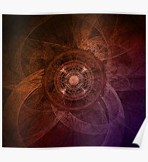 Gradient Orange Flower And Abstract Poster