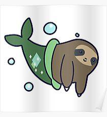 Mermaid Sloth Poster