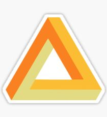 Penrose triangle orange gold yellow on black Sticker
