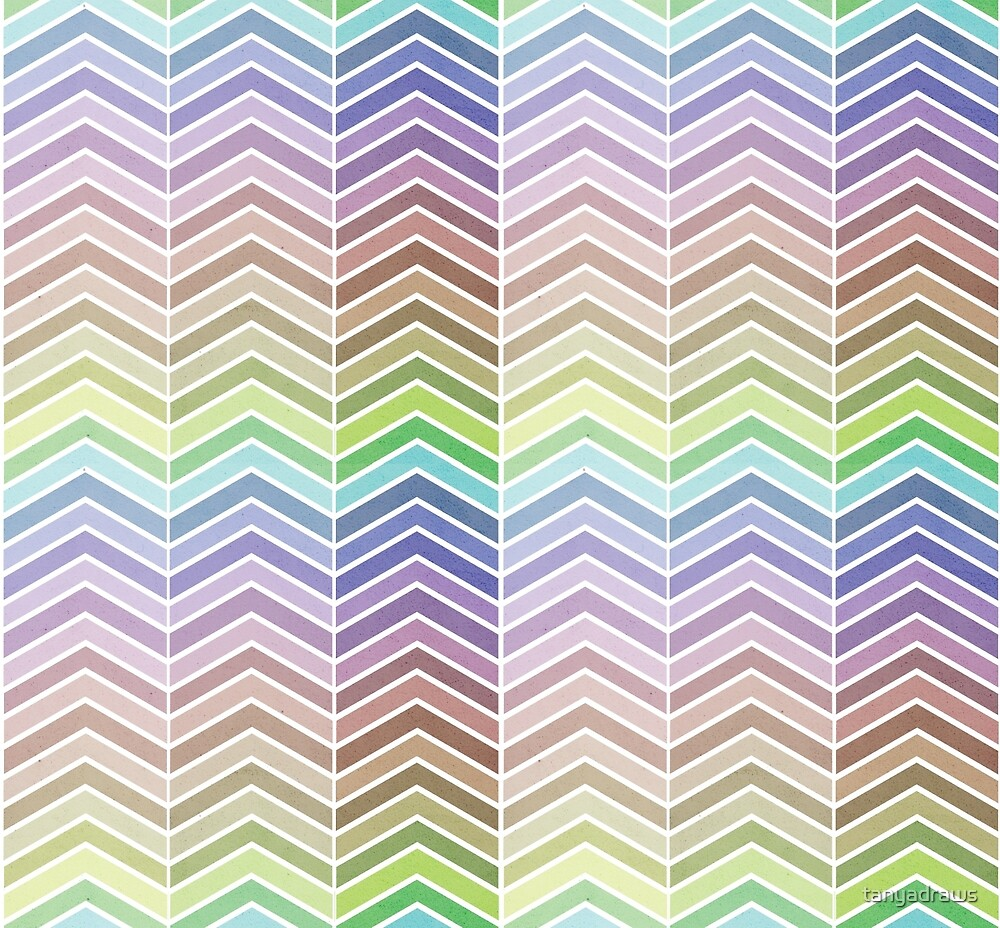Rainbow and Textured Chevron Pattern by tanyadraws