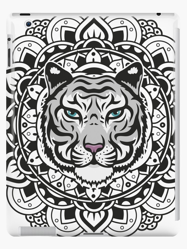 Mandala white tiger ipad cases skins by marcocapra89 - Mandalas de tigres ...