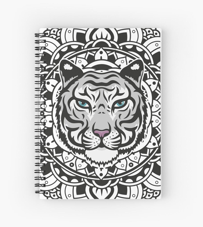 Cuadernos de espiral tigre blanco de mandala de marcocapra89 redbubble - Tigre mandala ...