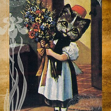 Victorian Cat Girl Holding Flowers by designsbycclair