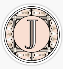 1920s Pink Champagne Deco Monogram letter J Sticker
