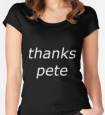 thanks pete white Women's Fitted Scoop T-Shirt