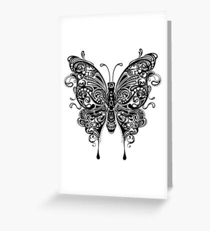 Black tribal butterfly ornate illustration Greeting Card