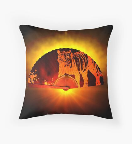 Asian subjects; Motive: Tiger Throw Pillow