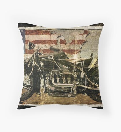 Road Warrior Vintage Motorcycle Unbound Throw Pillow