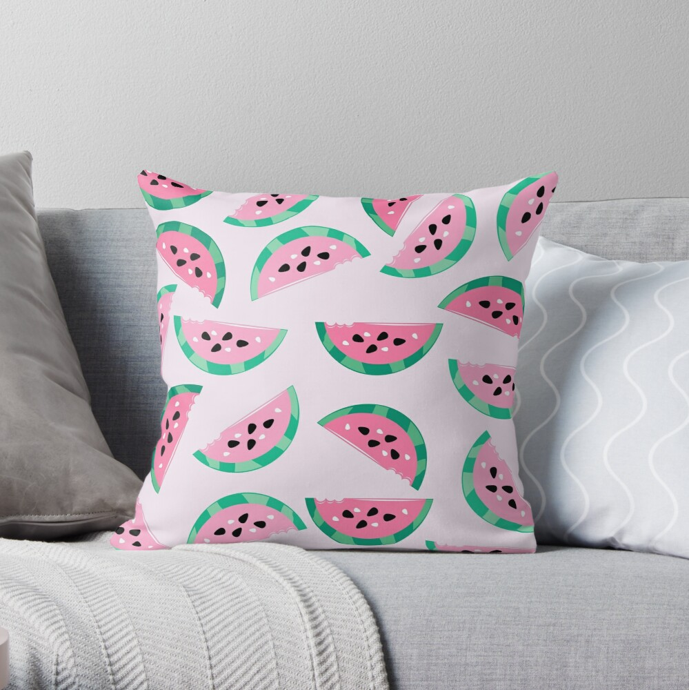 Watermelon Vibrant and Pastel Pattern Throw Pillow