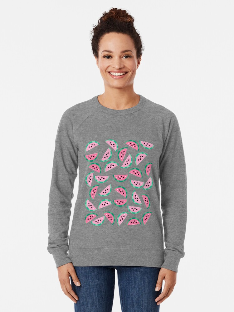 Alternate view of Watermelon Vibrant and Pastel Pattern Lightweight Sweatshirt