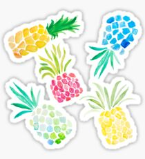 Colorful Watercolor Pineapples on Black Sticker