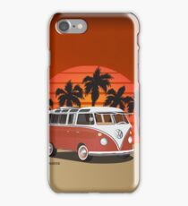 Hippie 21 Window VW Bus Red Surfboard on the Beach iPhone Case/Skin